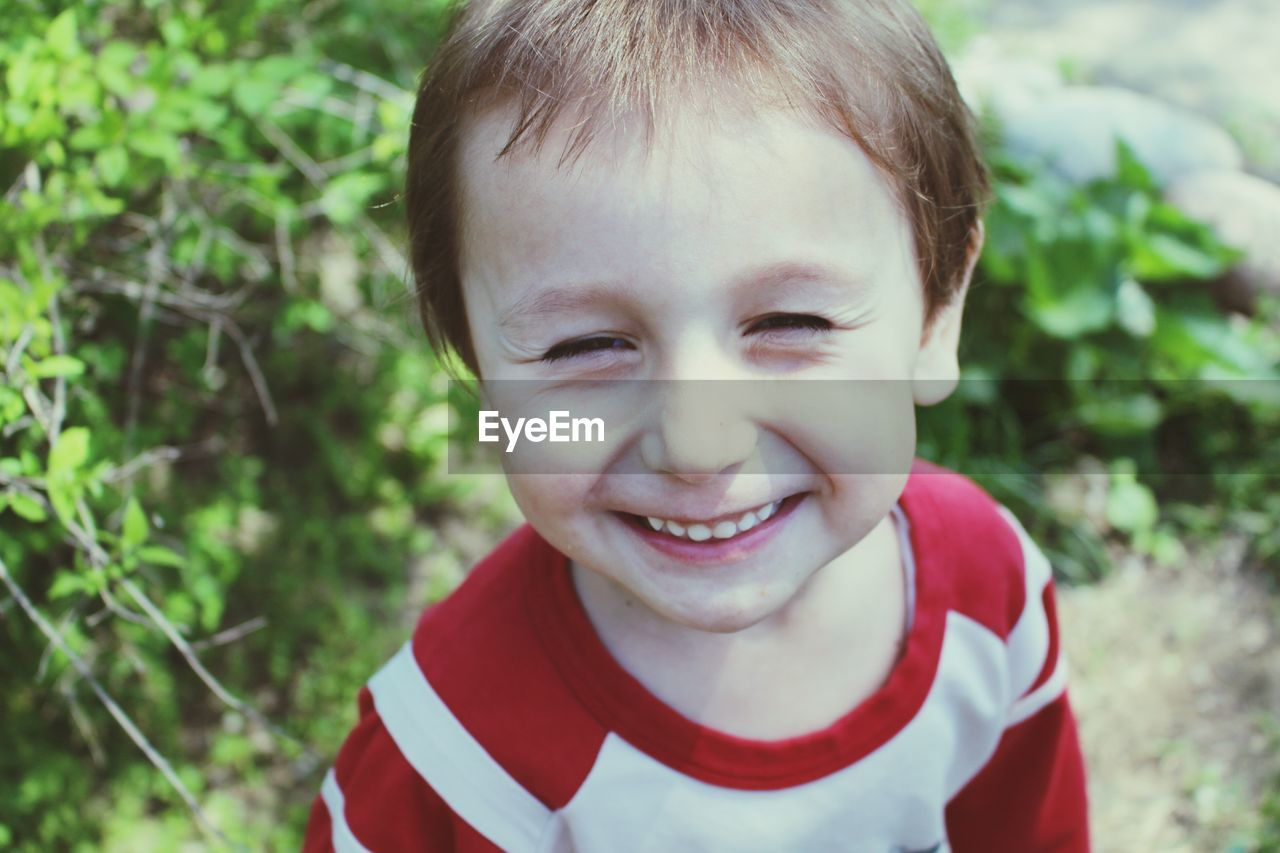 Close-up portrait of happy boy