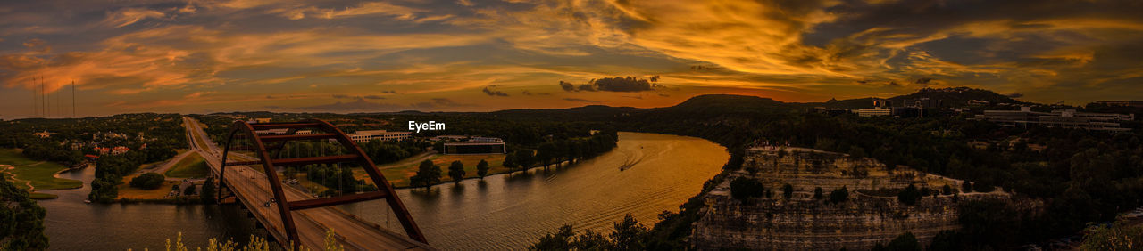 High Angle View Of Pennybacker Bridge Over Lake Austin In City