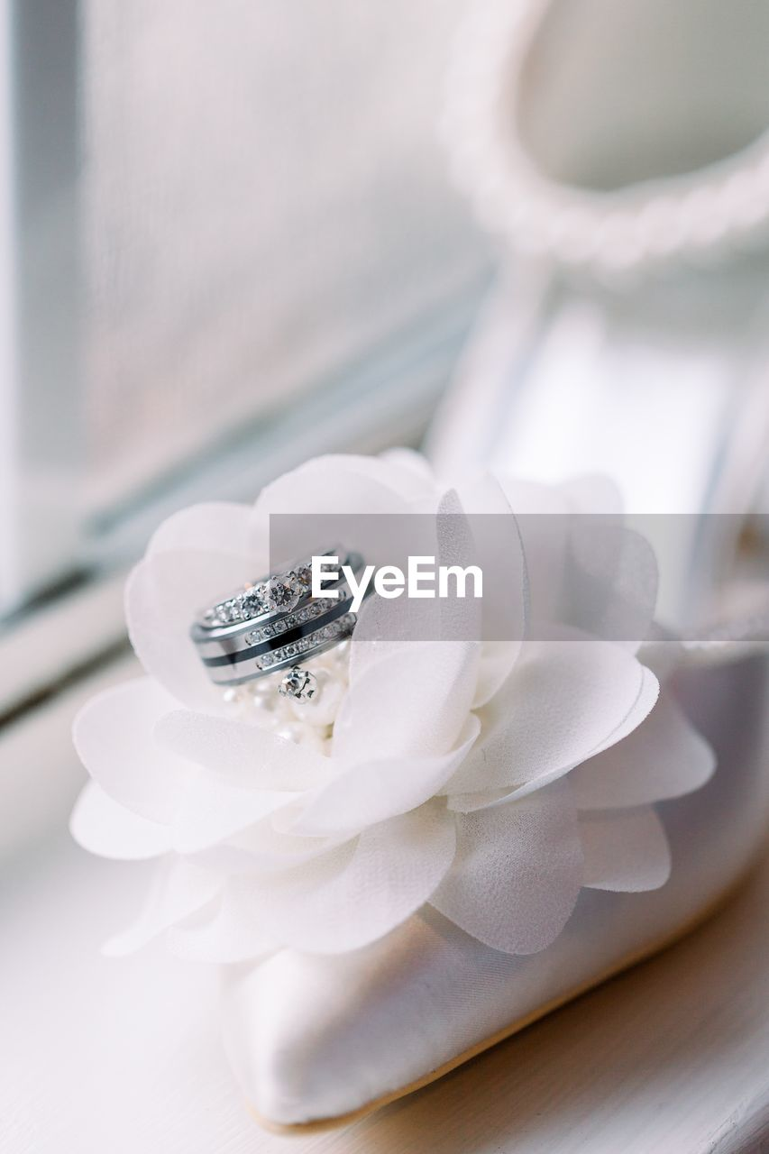 close-up, white color, jewelry, selective focus, ring, flower, no people, wedding, engagement ring, love, diamond - gemstone, flowering plant, wedding ring, life events, table, still life, celebration, event, freshness, emotion, positive emotion, personal accessory, precious gem, luxury