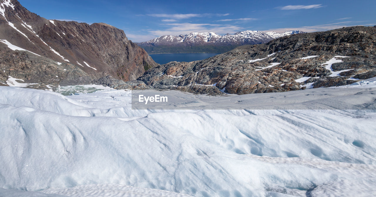 Scenic View Of Glacier At Lyngen Alps On Sunny Day