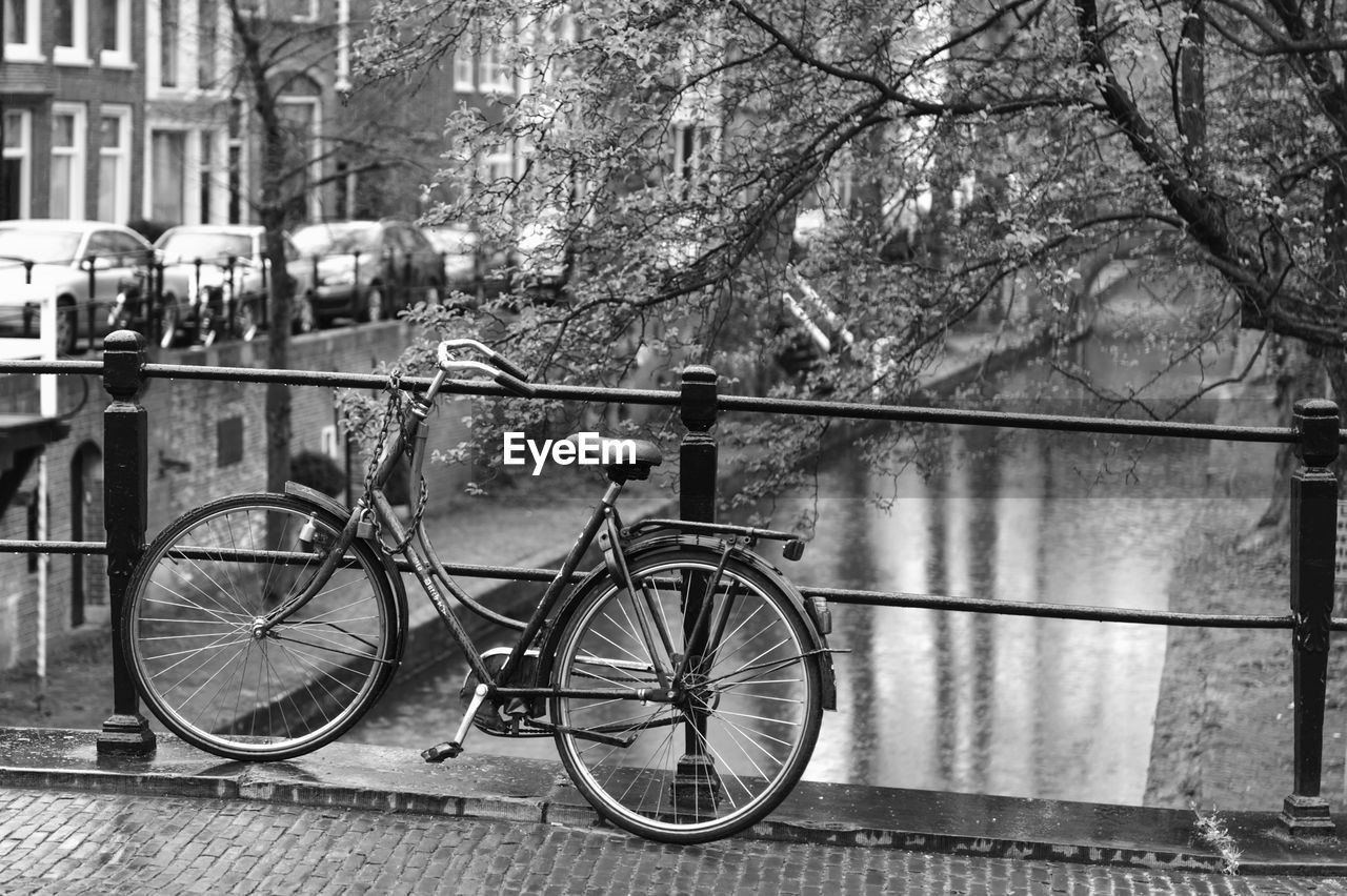 bicycle, transportation, land vehicle, mode of transportation, plant, tree, water, day, focus on foreground, city, nature, architecture, incidental people, footpath, built structure, stationary, sidewalk, river, outdoors, rain