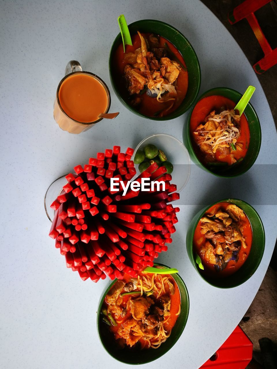 food and drink, food, freshness, table, indoors, high angle view, healthy eating, ready-to-eat, wellbeing, bowl, still life, directly above, no people, plate, meal, close-up, red, serving size, egg, vegetable