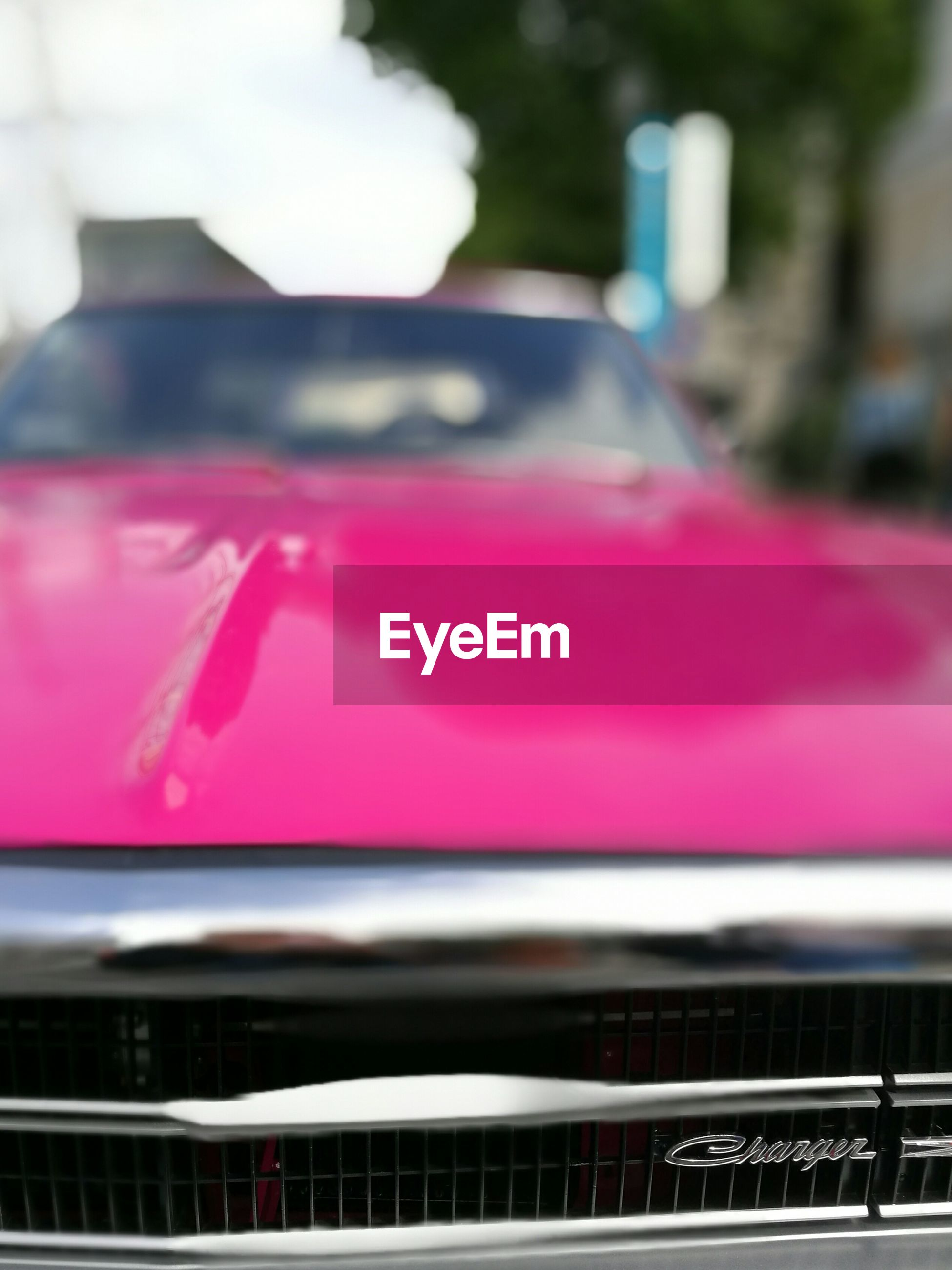 red, mode of transport, land vehicle, focus on foreground, close-up, pink color, day, selective focus, no people
