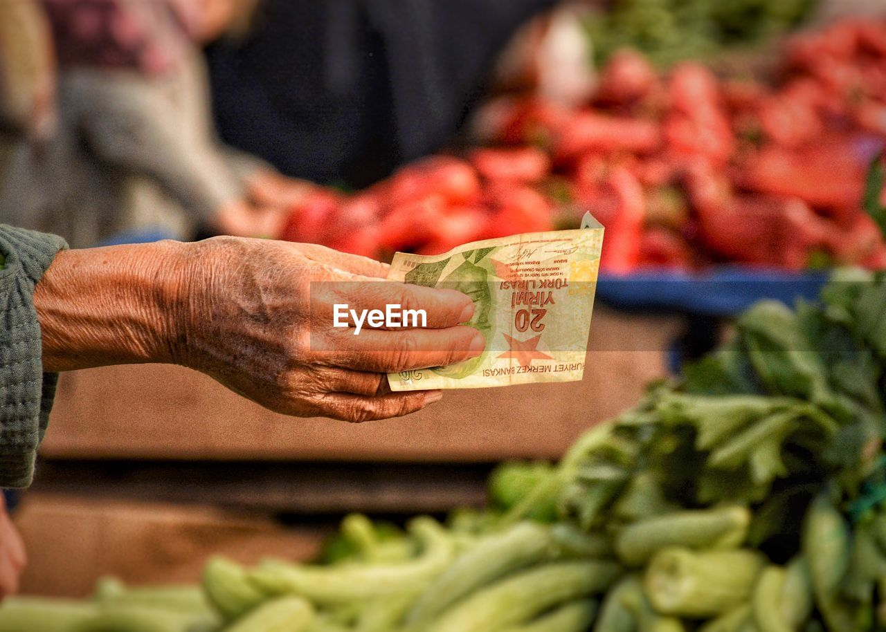 market, food, retail, food and drink, real people, healthy eating, business, vegetable, selective focus, for sale, market stall, one person, hand, freshness, human hand, men, human body part, focus on foreground, price tag, buying, sale