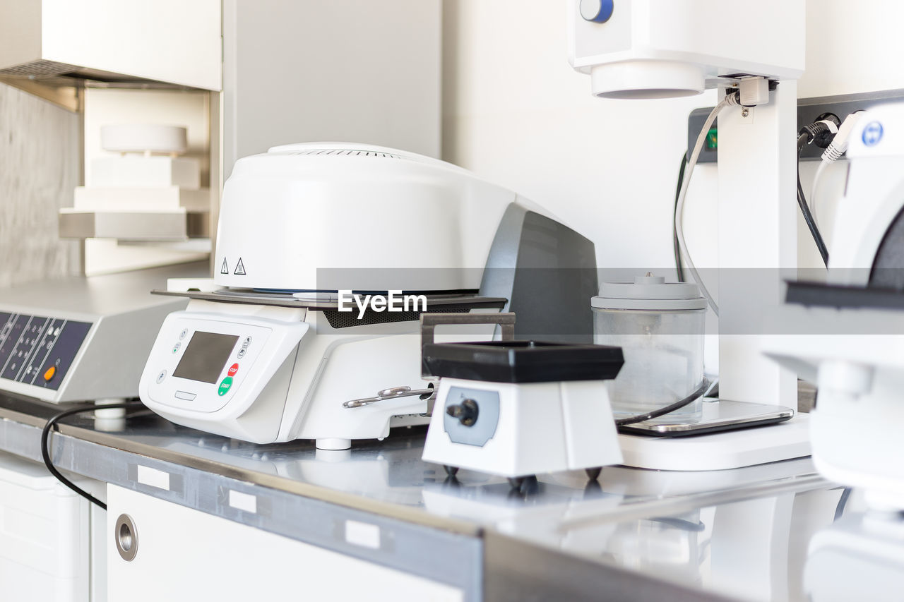 Equipment on table in laboratory