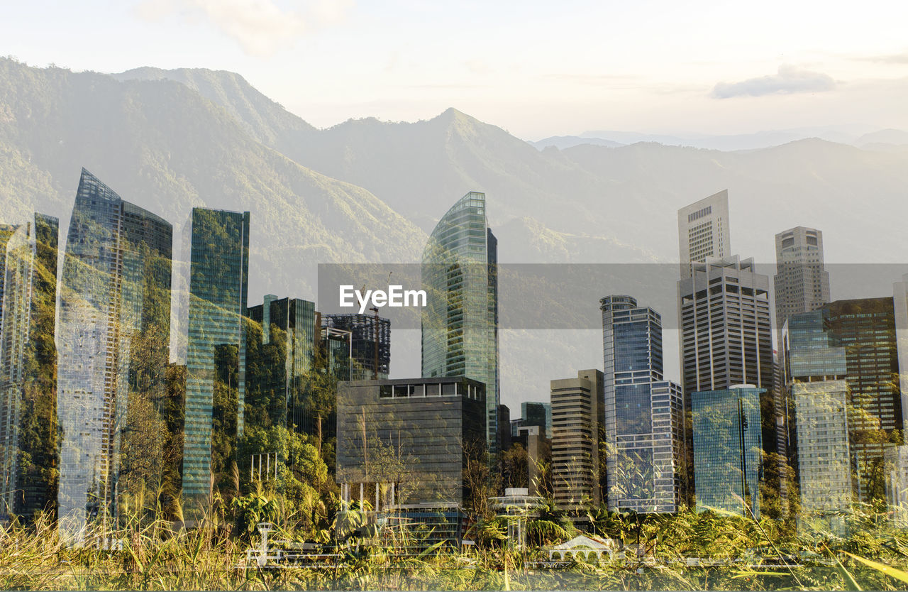 Green cityscape concept background