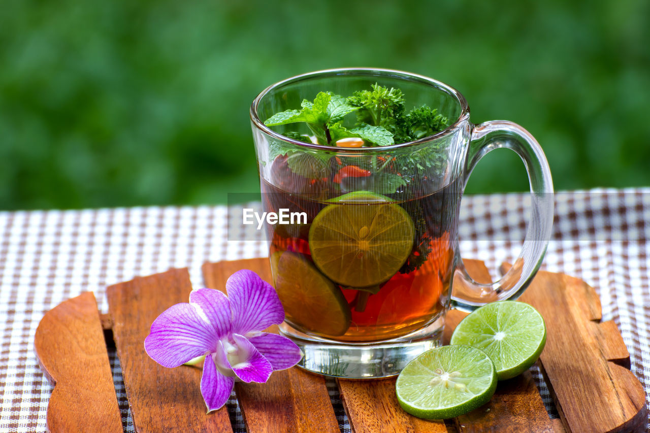 food and drink, drink, refreshment, freshness, food, table, glass, drinking glass, nature, household equipment, leaf, fruit, close-up, wellbeing, wood - material, no people, healthy eating, glass - material, citrus fruit, still life, herb, outdoors, mint leaf - culinary