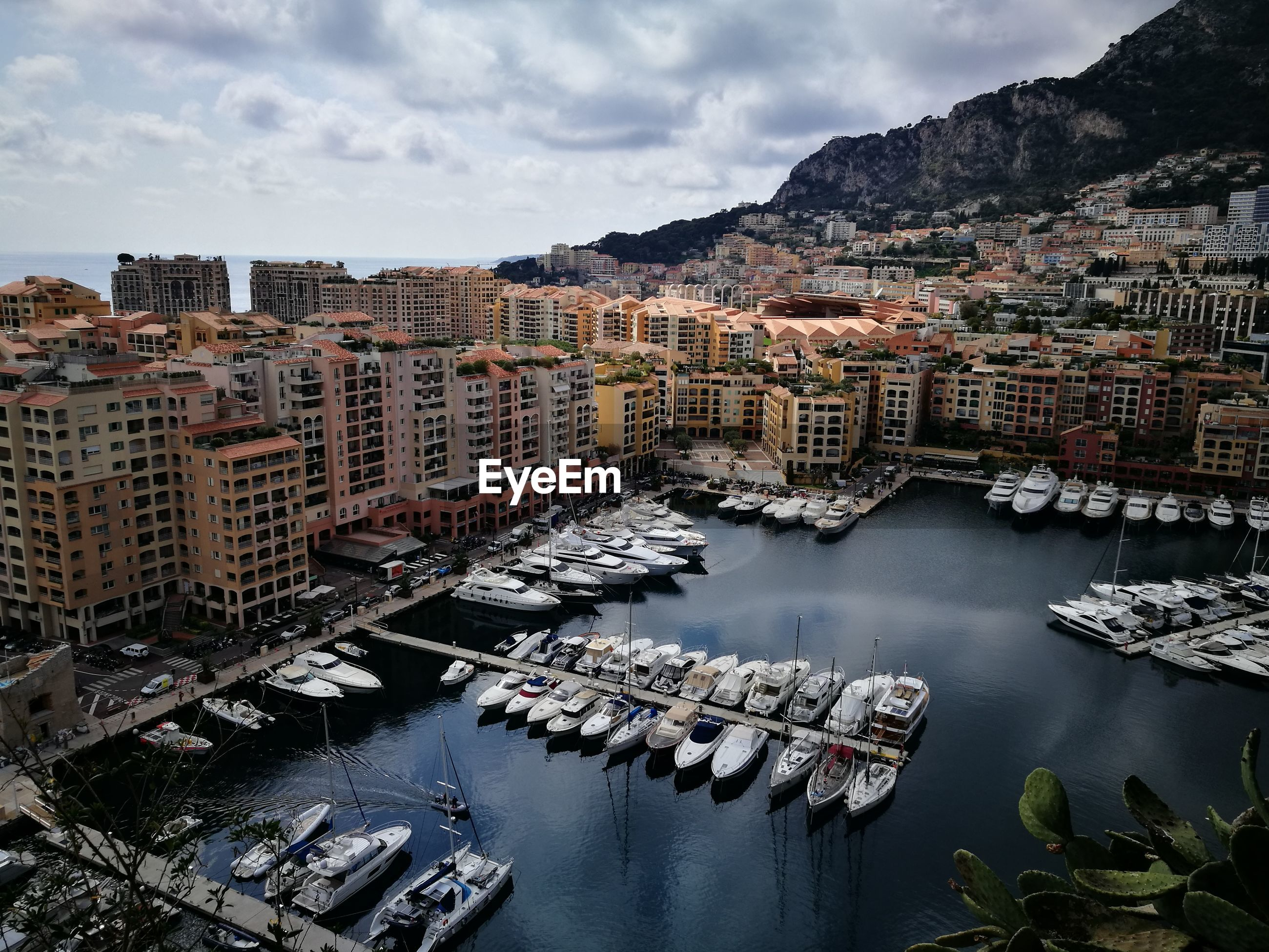 High angle view of marina in monaco