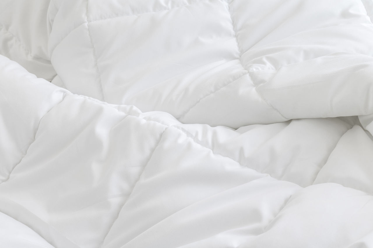 textile, bed, furniture, white color, indoors, bedroom, domestic room, no people, sheet, pillow, high angle view, linen, blanket, full frame, relaxation, pattern, crumpled, comfortable, backgrounds, duvet, softness, clean