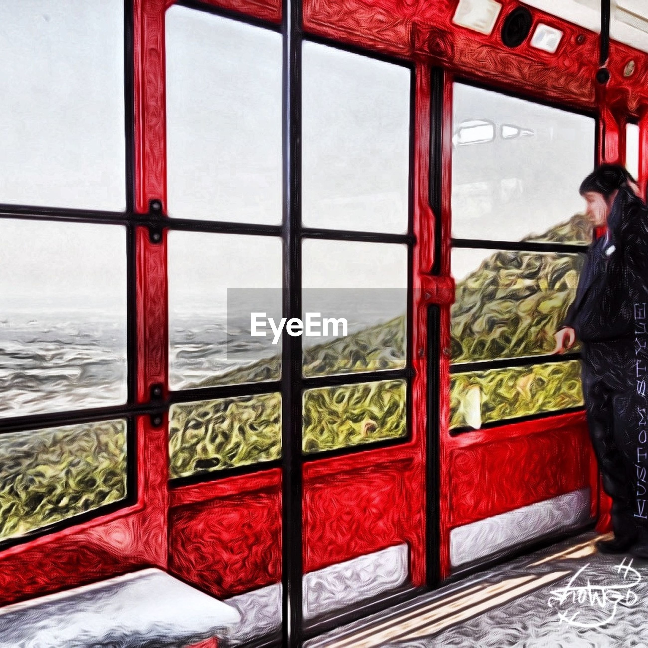 red, sea, water, window, transportation, day, horizon over water, transparent, sky, glass - material, travel, built structure, mode of transport, architecture, protection, safety, indoors, no people, river
