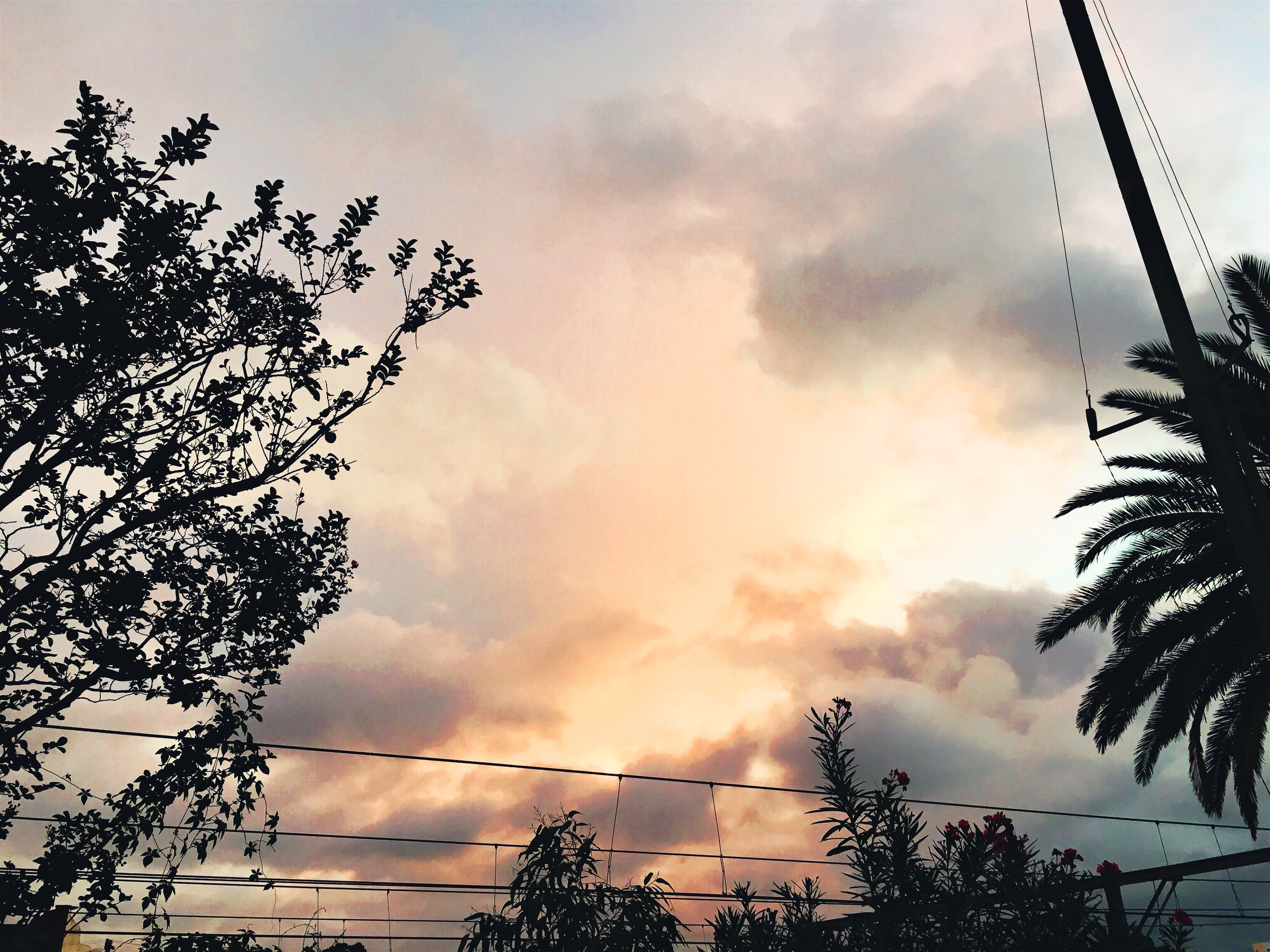 LOW ANGLE VIEW OF POWER LINES AGAINST CLOUDY SKY