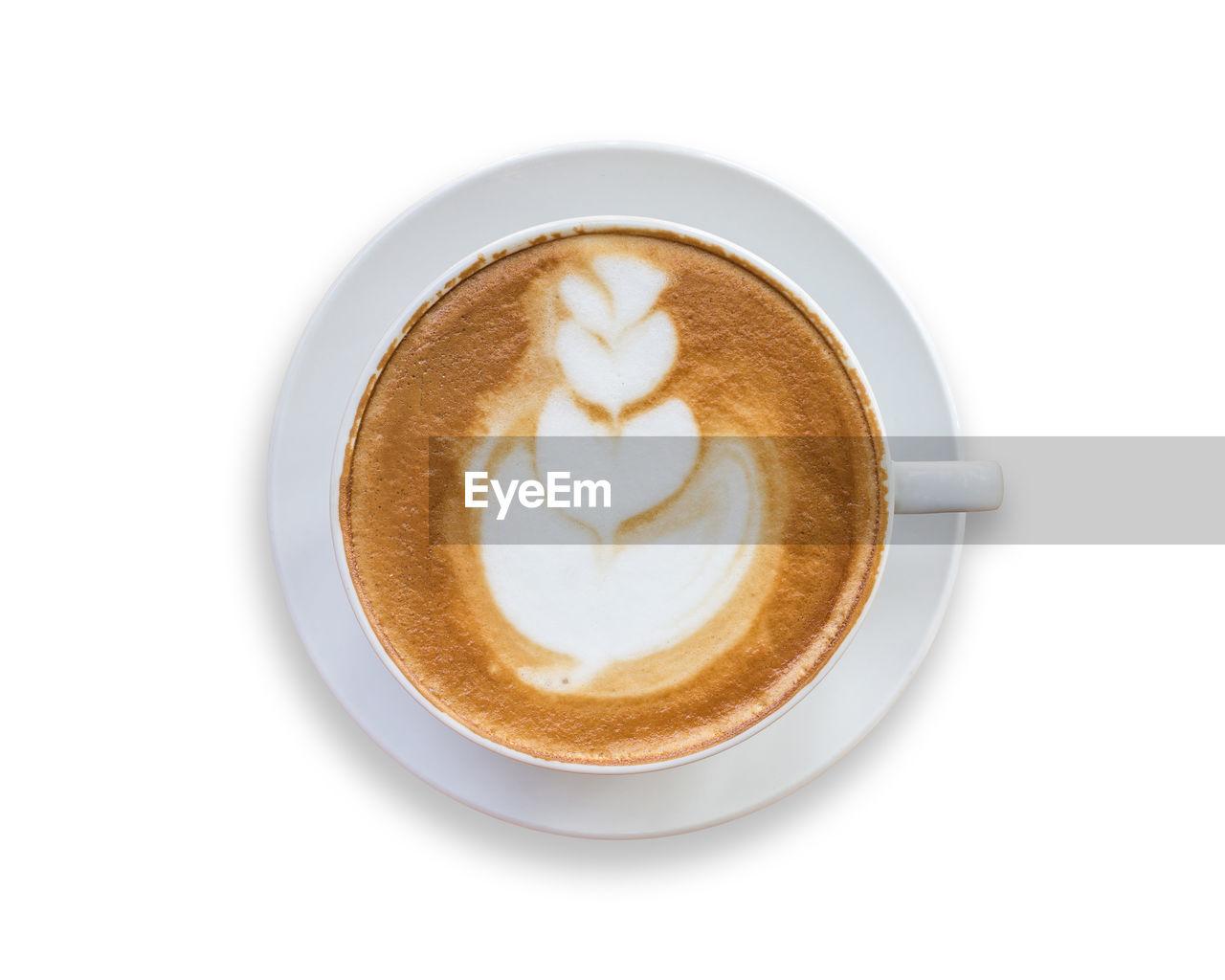 Cappuccino over white background