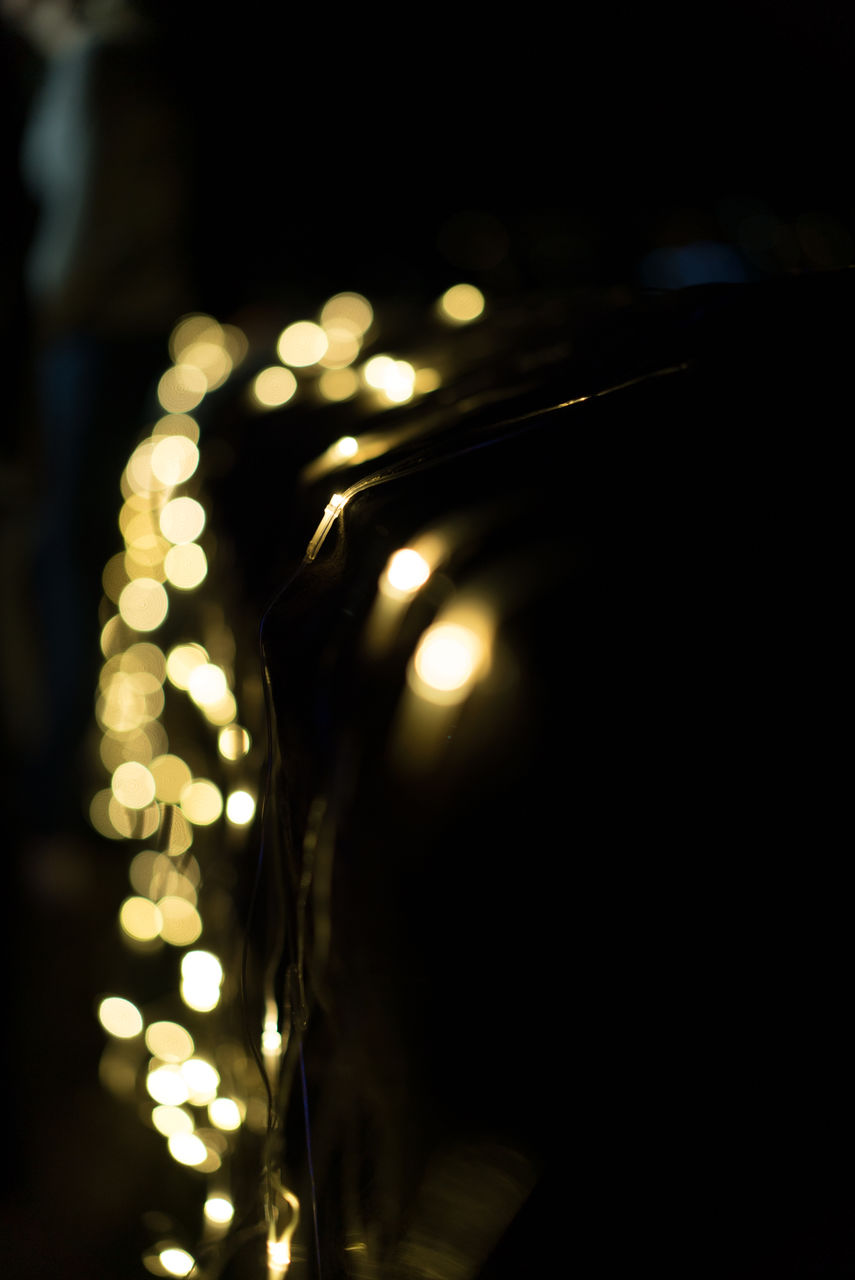 illuminated, lighting equipment, glowing, electricity, close-up, no people, light bulb, night, indoors, gold colored, black background