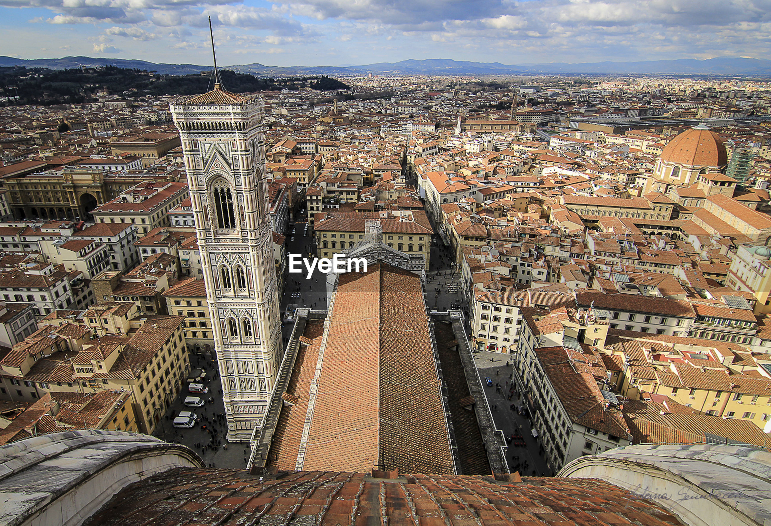 Aerial view of florence cathedral overlooking cityscape