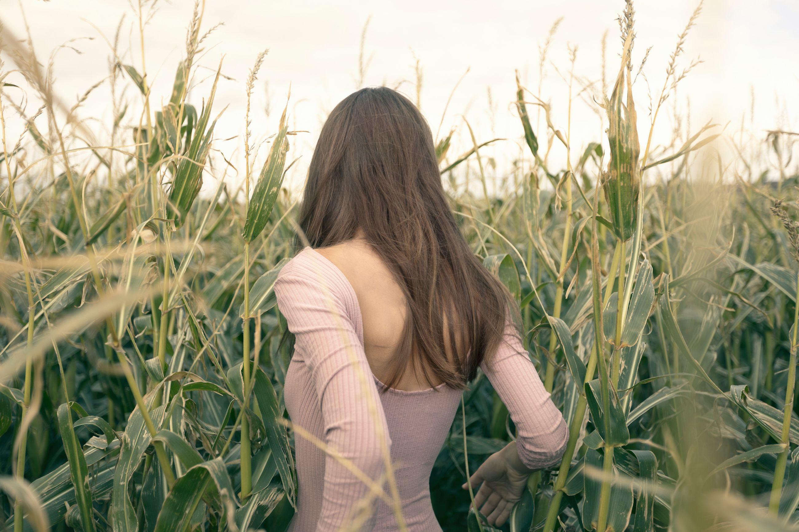 Rear view of woman walking amidst plants on field