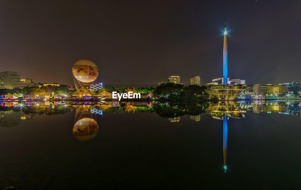 City Cityscape Illuminated Water Urban Skyline Skyscraper Reflection Sky Architecture
