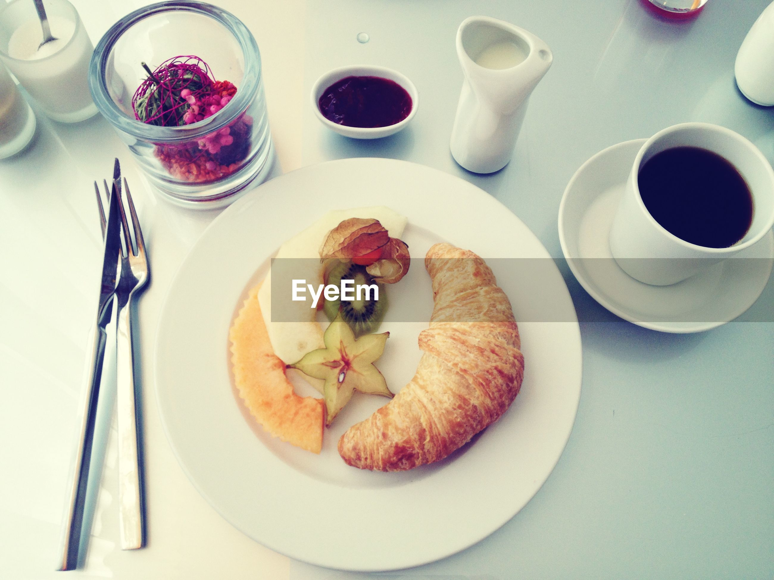 Elevated view of breakfast