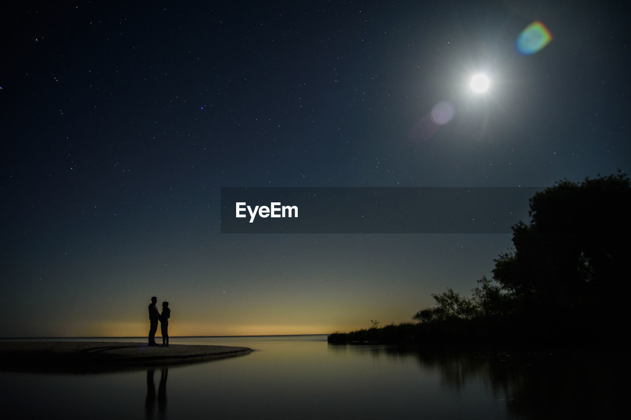 SCENIC VIEW OF LAKE AGAINST SKY DURING NIGHT