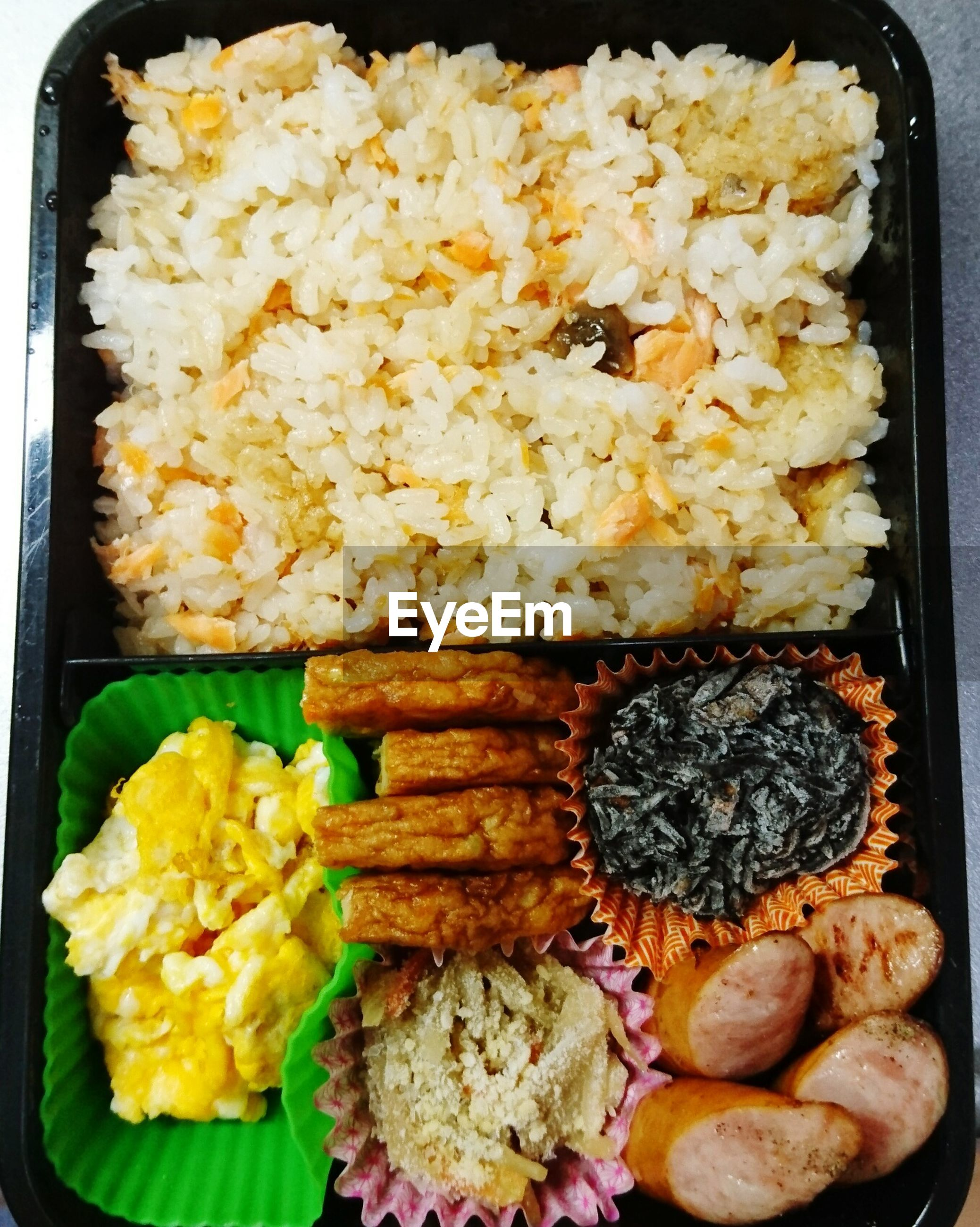 food, food and drink, rice - food staple, ready-to-eat, serving size, freshness, no people, rice, directly above, healthy eating, plate, indoors, close-up, fried rice, day