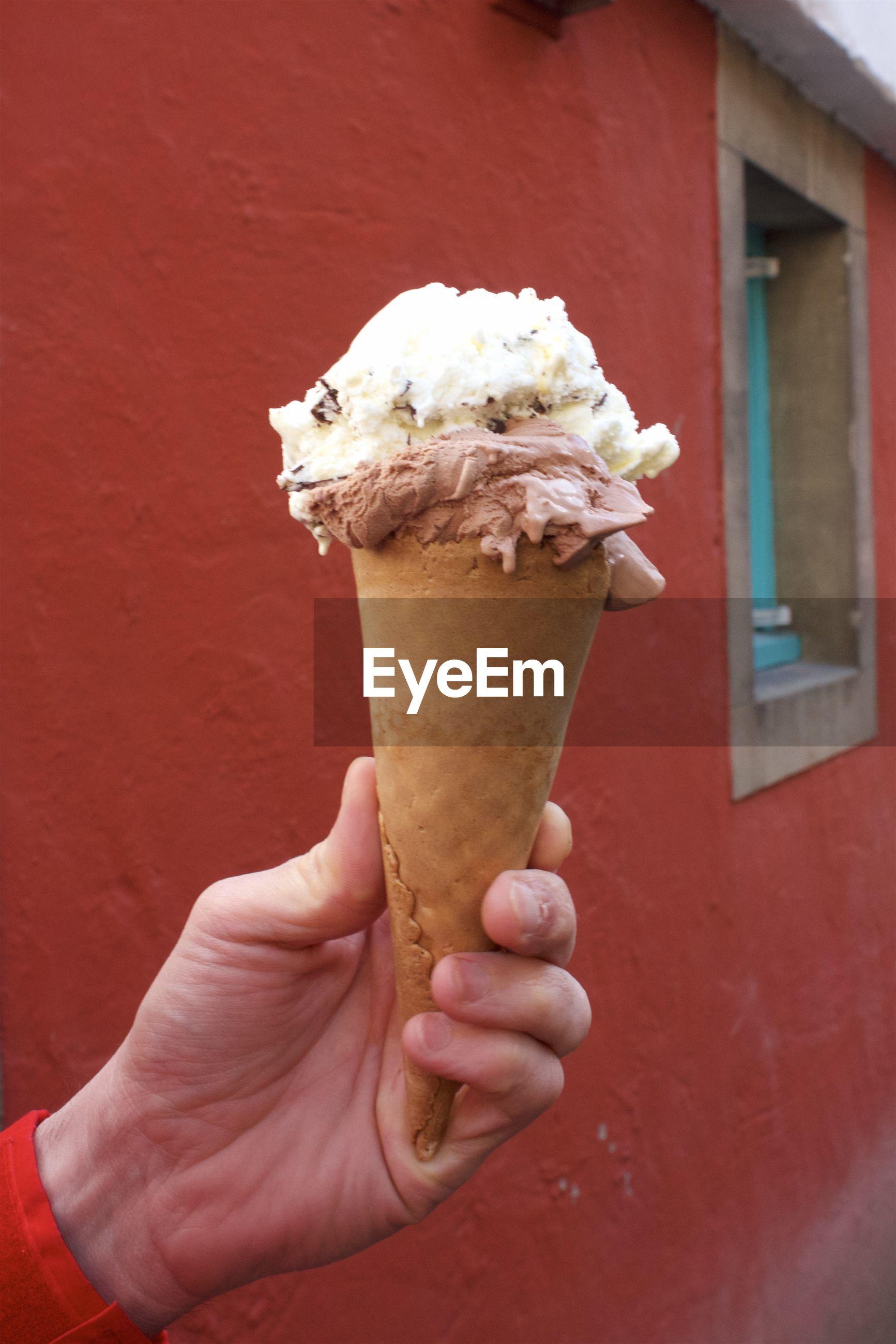 Hand holding ice cream cone