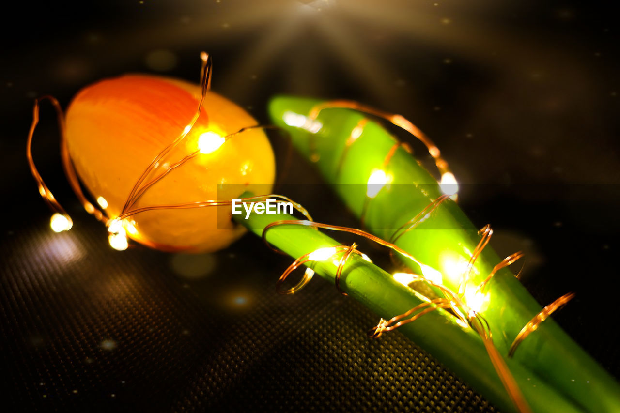 close-up, illuminated, no people, celebration, green color, focus on foreground, lighting equipment, holiday, indoors, selective focus, glowing, decoration, light - natural phenomenon, nature, plant, still life, christmas, food and drink