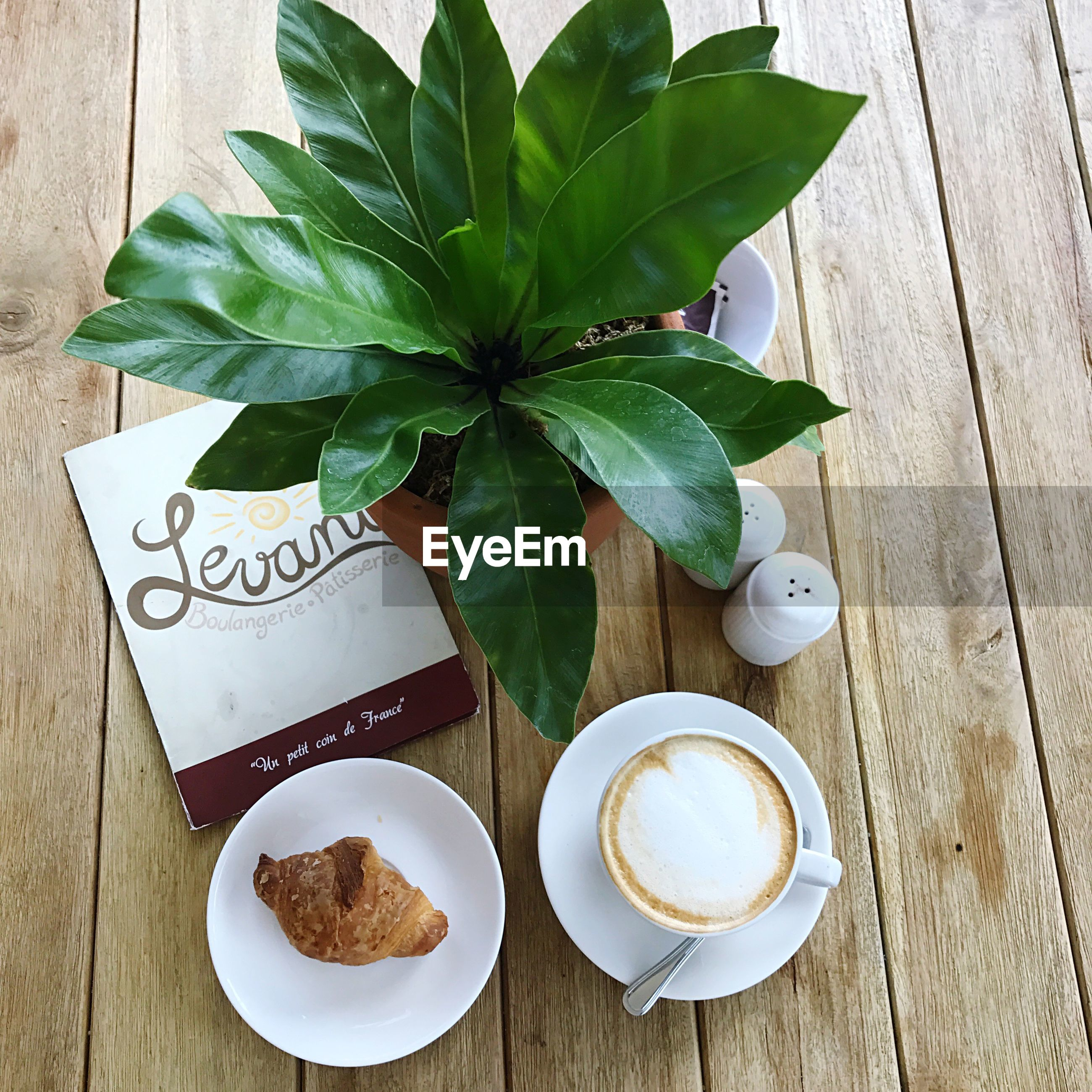 leaf, high angle view, no people, freshness, table, drink, baked pastry item, indoors, sweet food, close-up, day