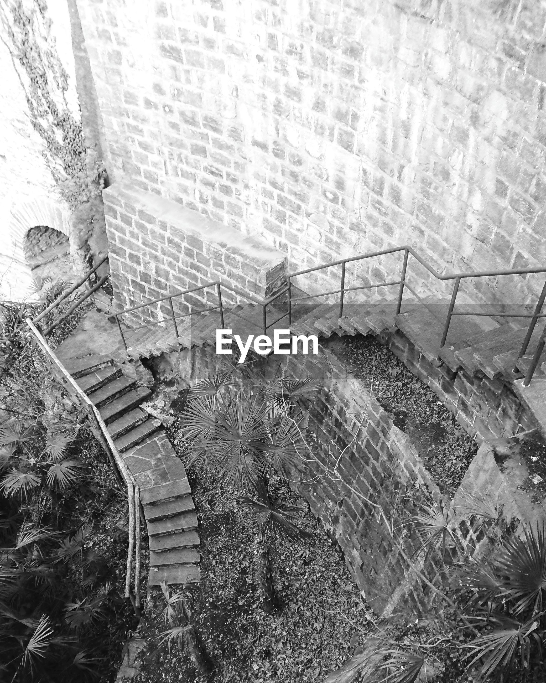HIGH ANGLE VIEW OF ABANDONED STEPS IN PARK