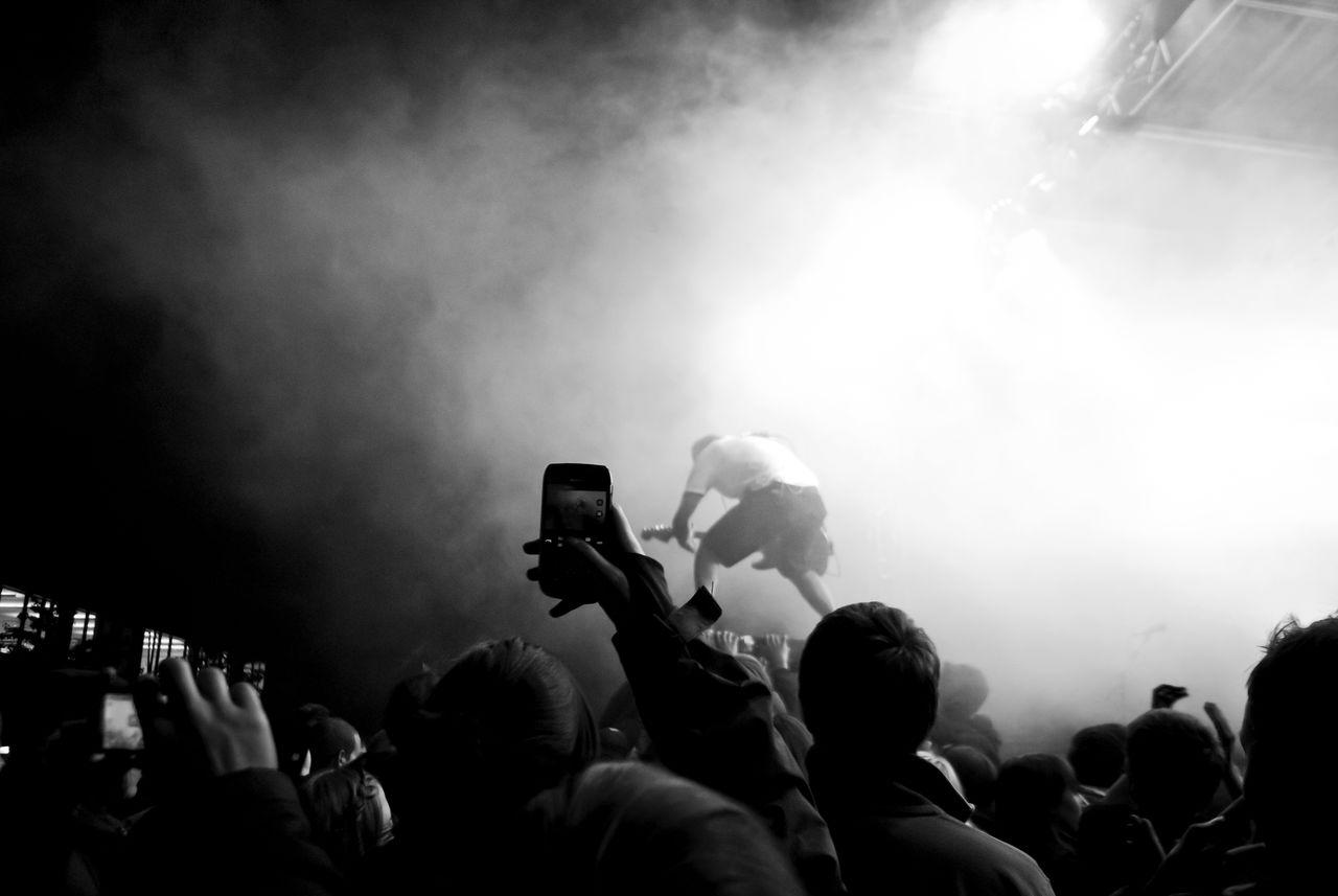 Crowd Enjoying At Music Concert During Night