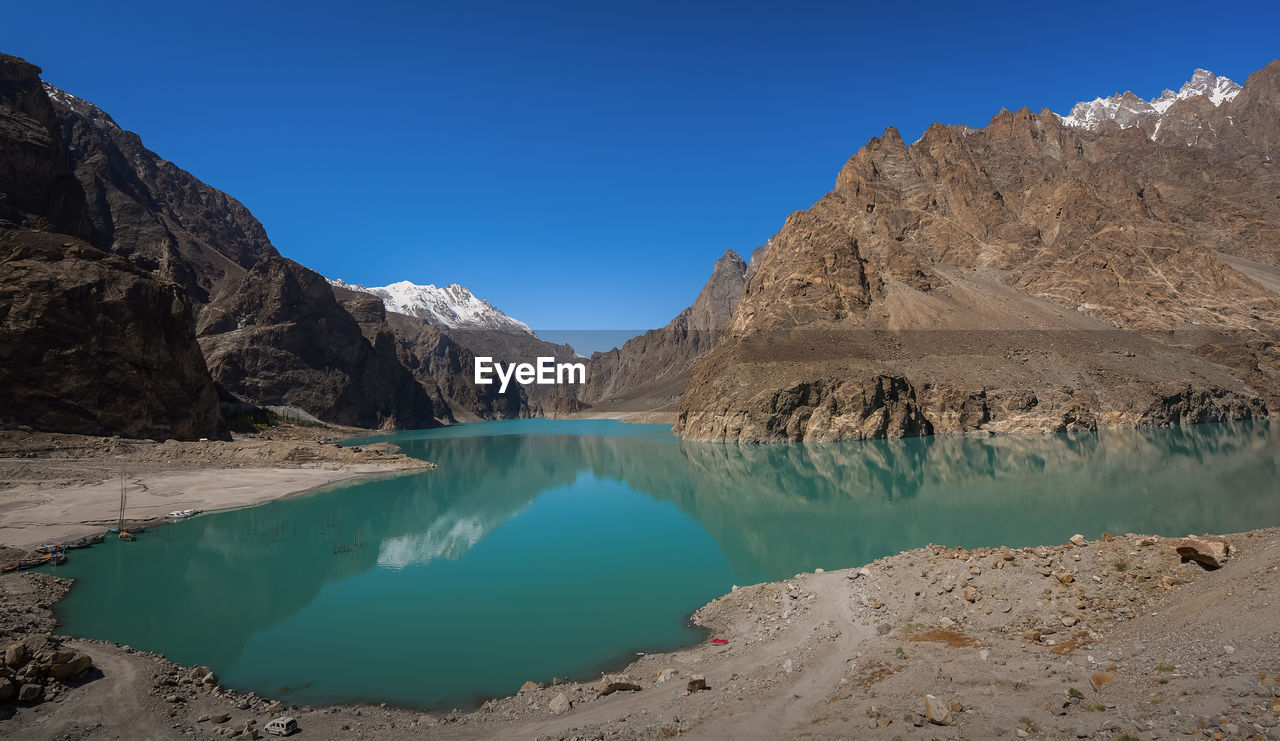 Attabad lake in the city of hanza in pakistan.