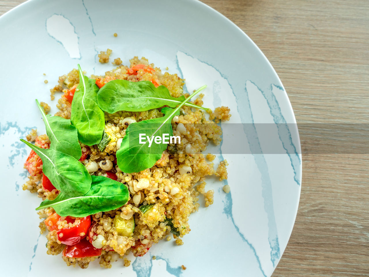 food and drink, food, ready-to-eat, freshness, plate, healthy eating, vegetable, table, wellbeing, still life, serving size, high angle view, indoors, no people, herb, close-up, leaf, basil, meal, directly above, garnish, vegetarian food, breakfast, temptation