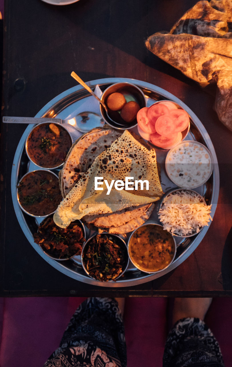 food and drink, food, freshness, ready-to-eat, indoors, healthy eating, table, high angle view, wellbeing, meal, directly above, kitchen utensil, plate, eating utensil, bowl, spoon, still life, bread, serving size, no people, indian food, breakfast, temptation
