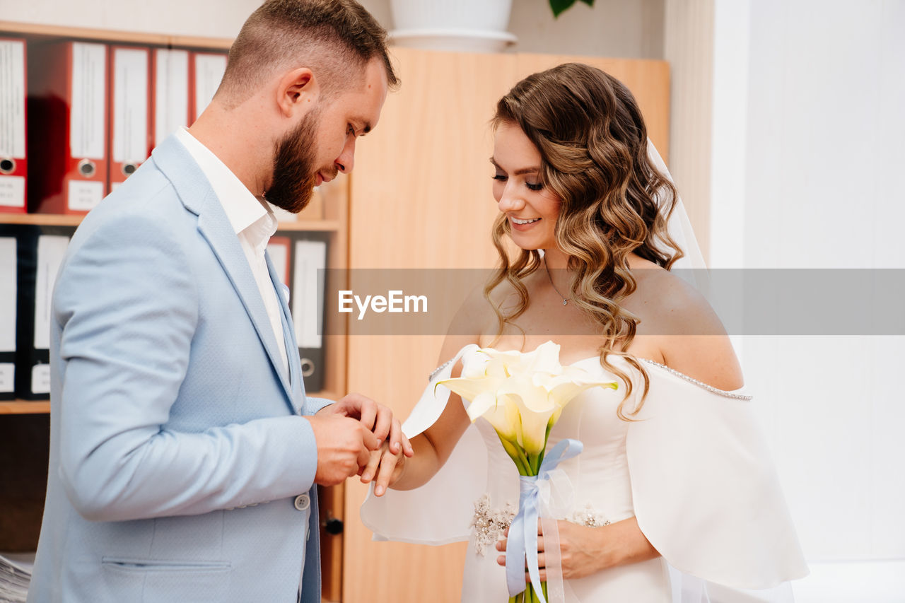 Young couple during wedding