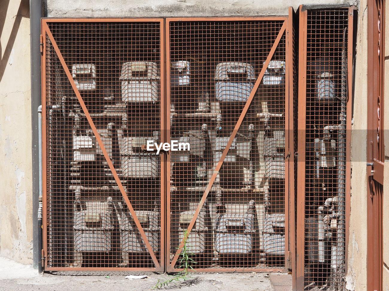 [DHAV_9290]  Metallic fuse box outside building   ID: 94228635   Outside Fuse Box      EyeEm