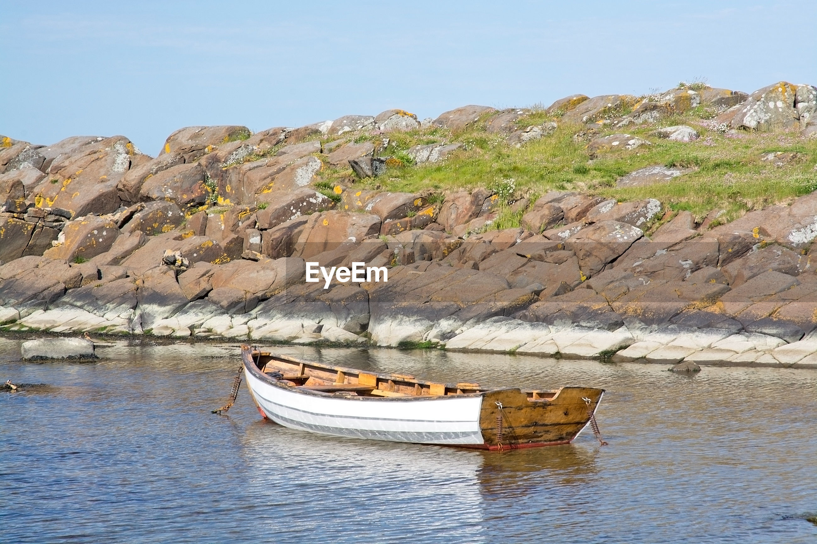 BOATS ON ROCK FORMATION AGAINST SKY
