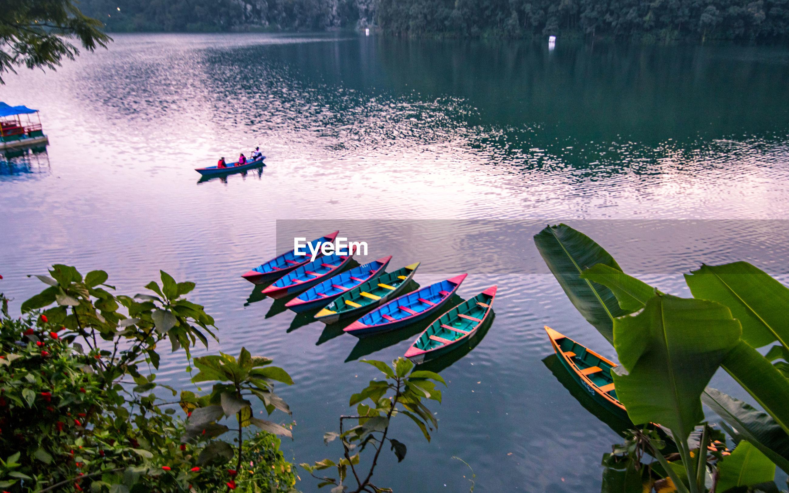 Evening view of fewa lake at pokhara, nepal