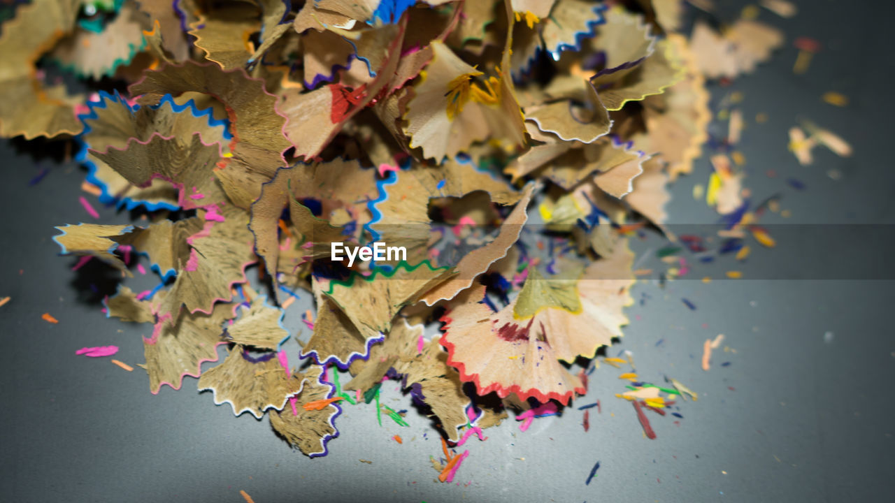 pencil shavings, multi colored, change, leaf, autumn, variation, close-up, abundance, no people, large group of objects, indoors, day