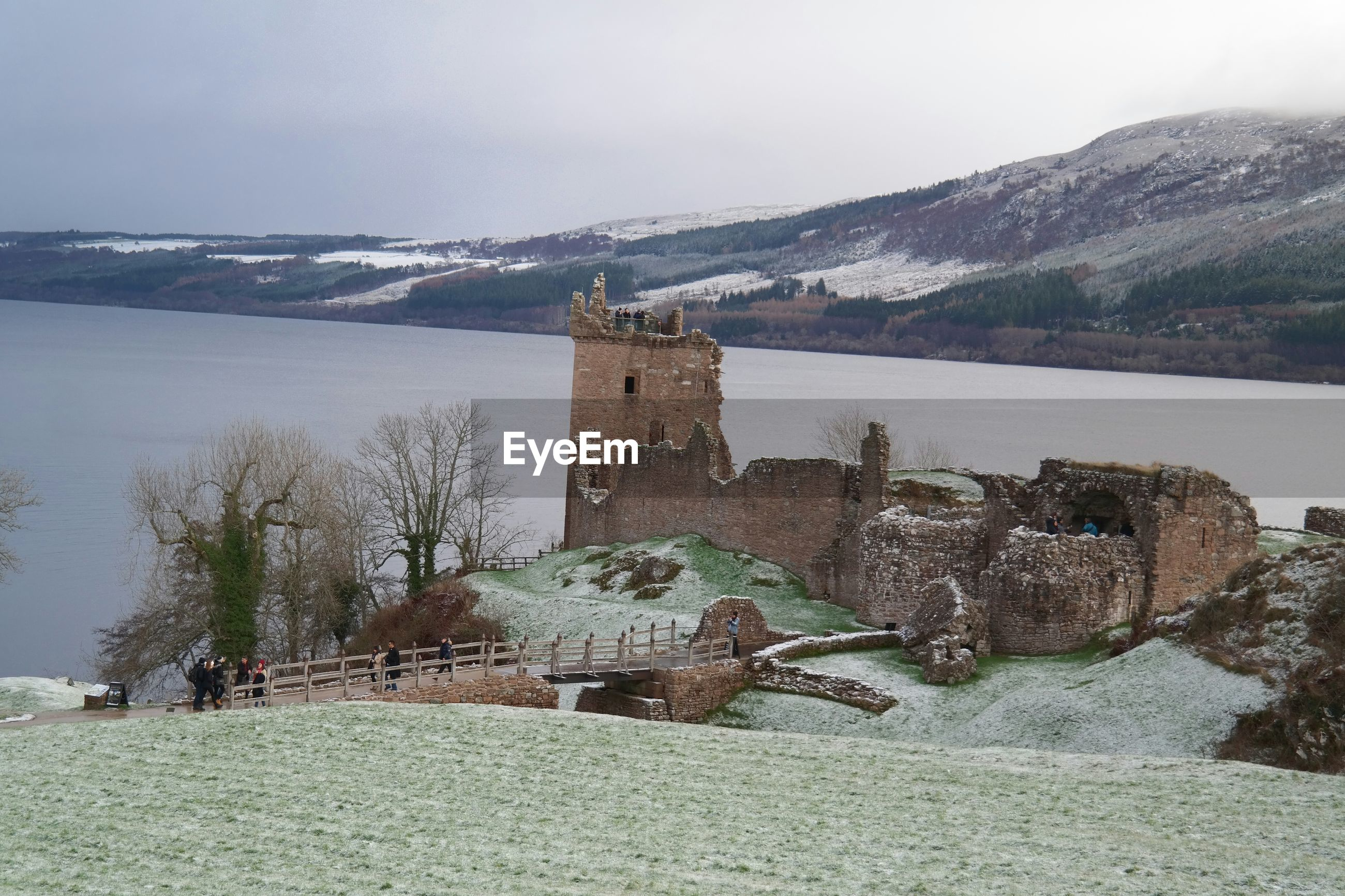 VIEW OF FORT AGAINST MOUNTAIN