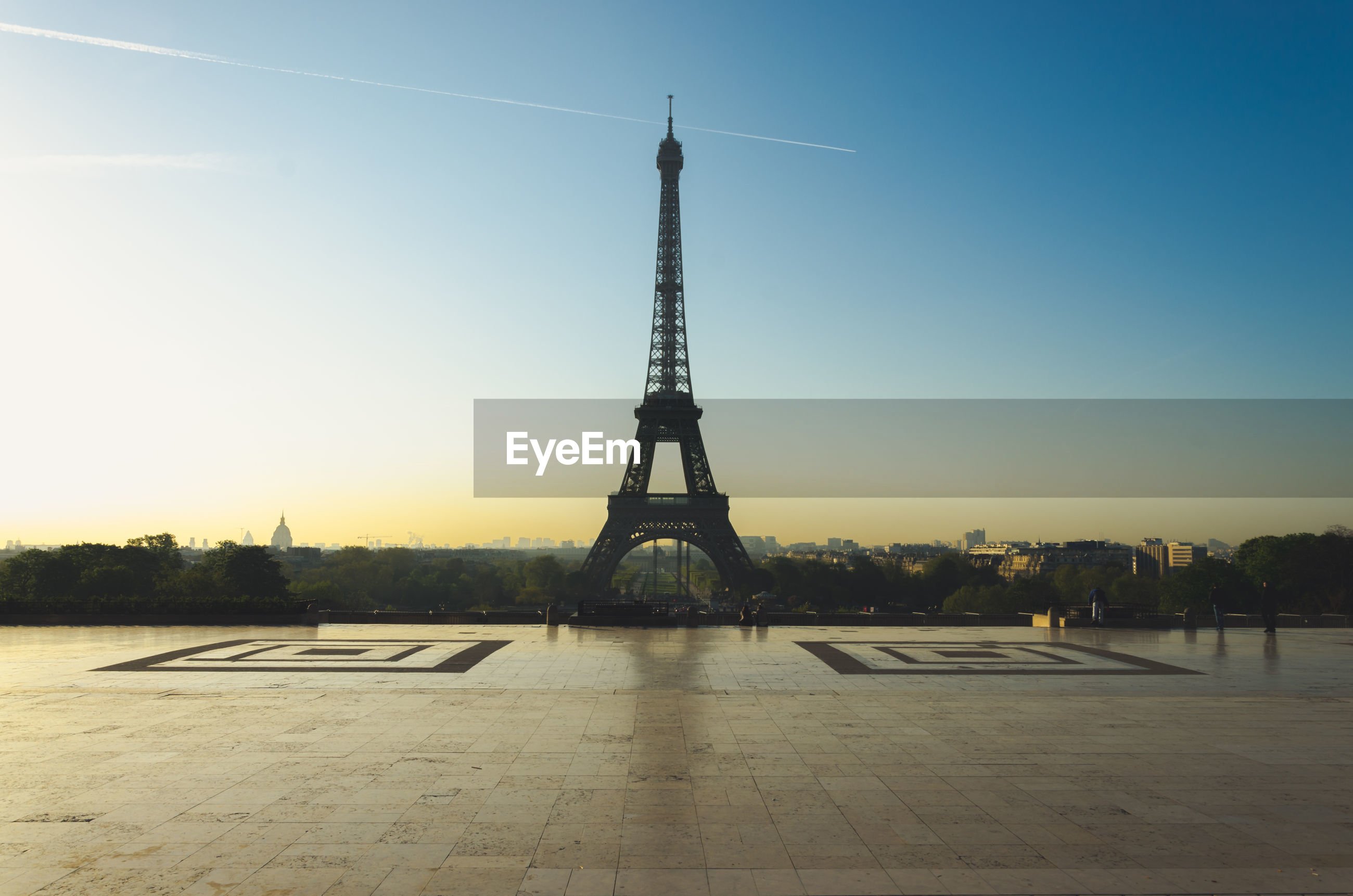 Silhouette Eiffel Tower Against Clear Sky During Sunset
