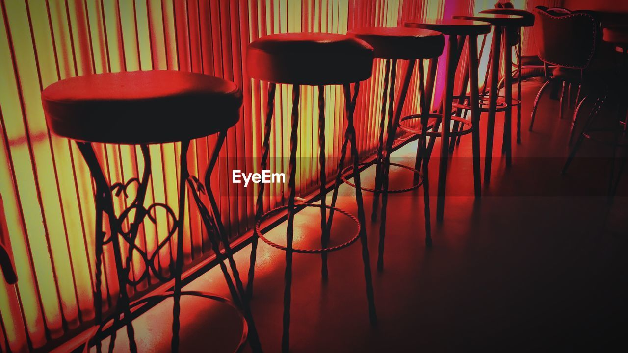 Empty row of stools in bar