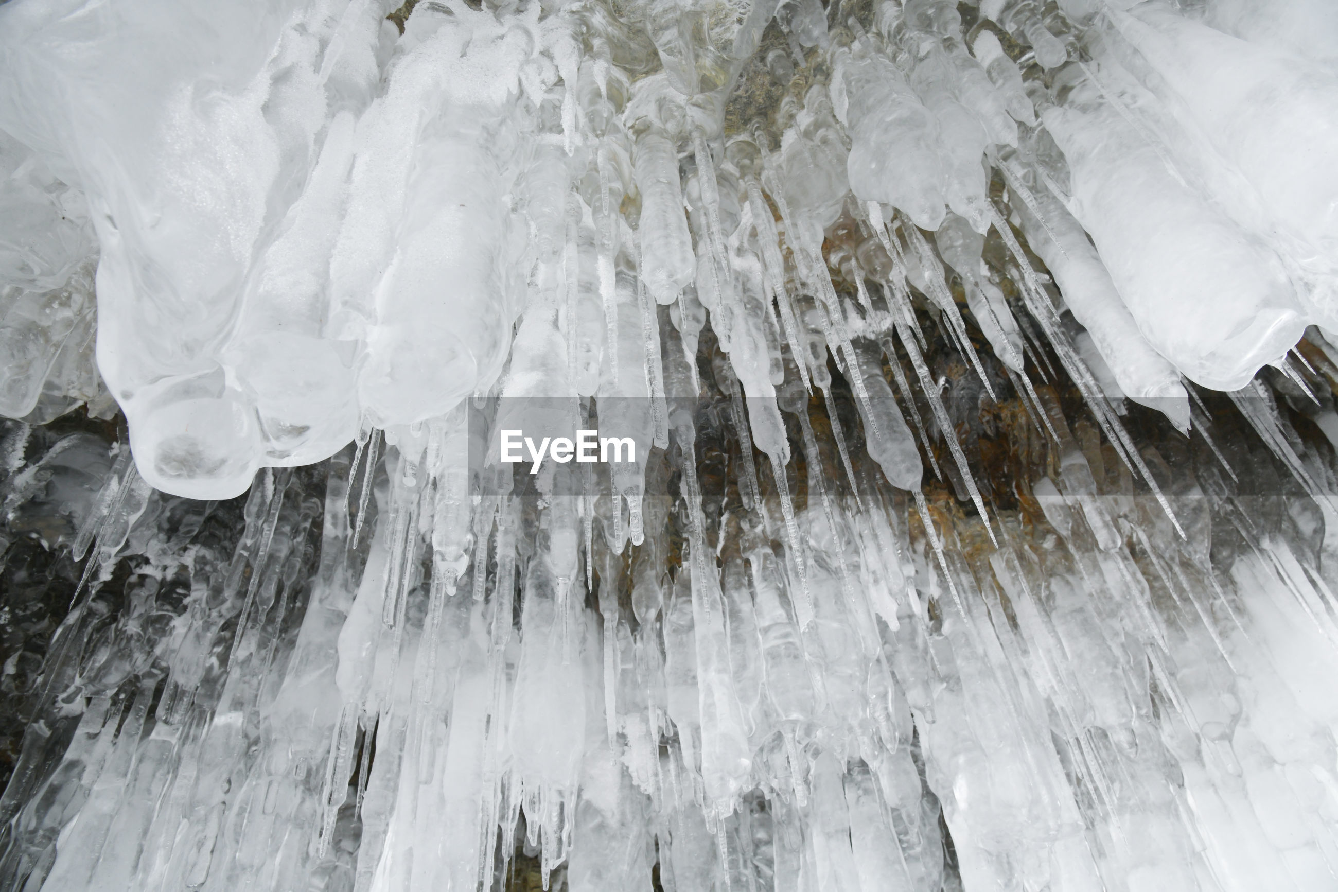 Low angle view of icicles