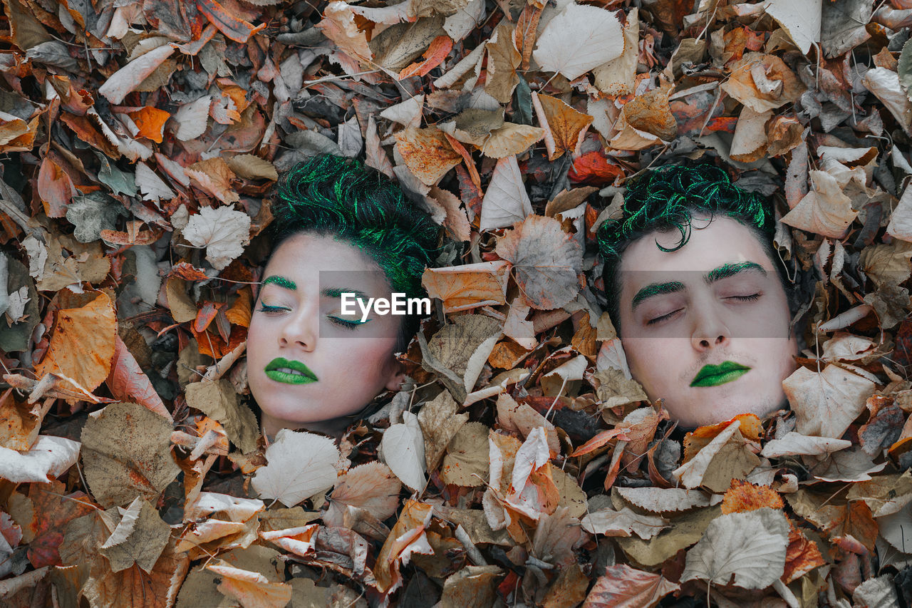 High Angle View Of Friends With Body Paint Lying Amidst Autumn Leaves On Field