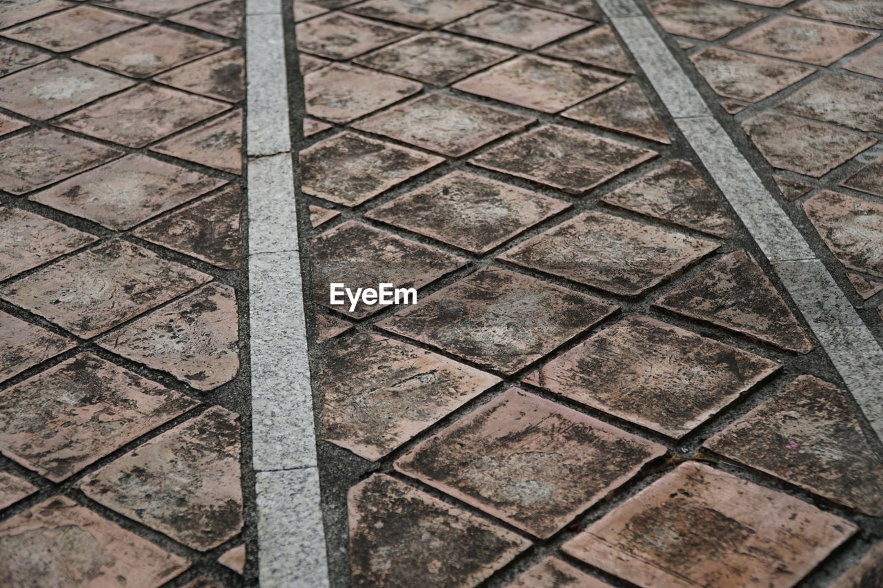 full frame, backgrounds, pattern, no people, metal, day, outdoors, close-up, high angle view, textured, stone tile