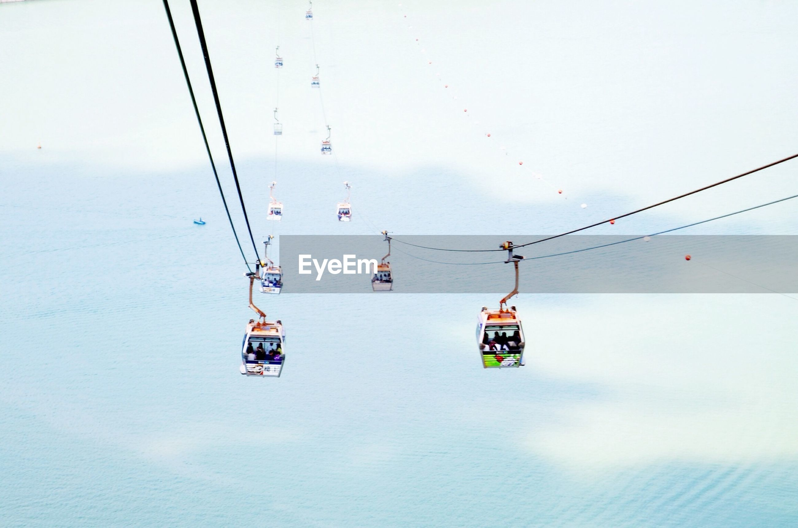 High angle view of overhead cable car over sea