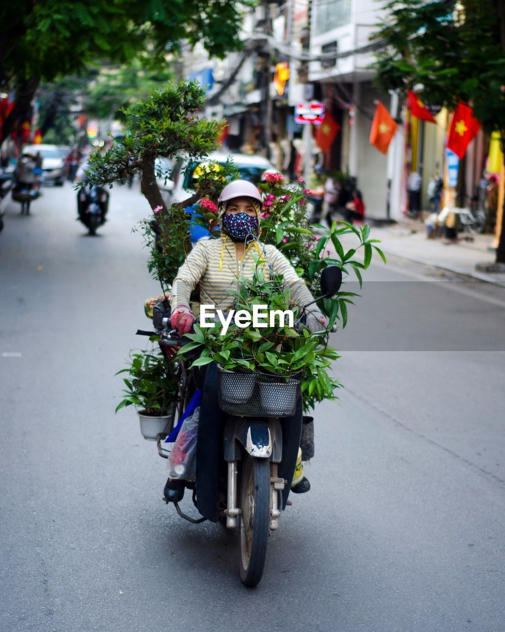 Man With Potted Plant Riding Motorcycle On Road In City