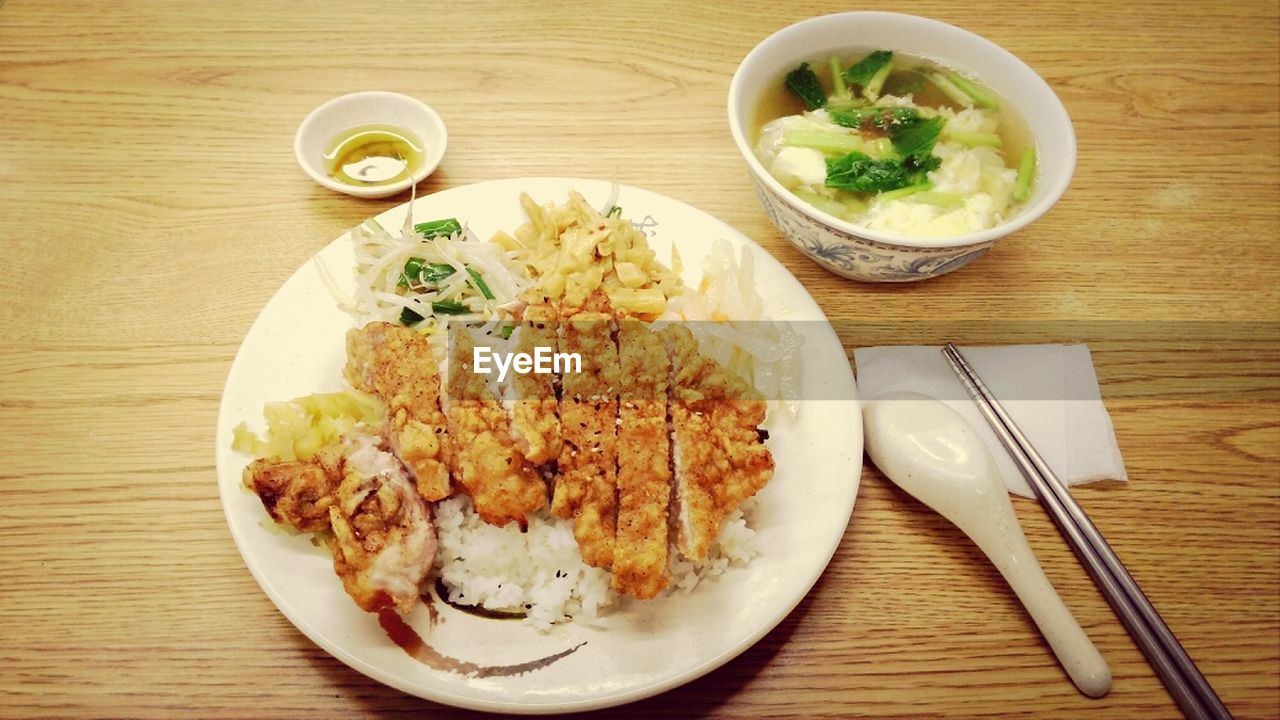 Fried chicken and chicken soup