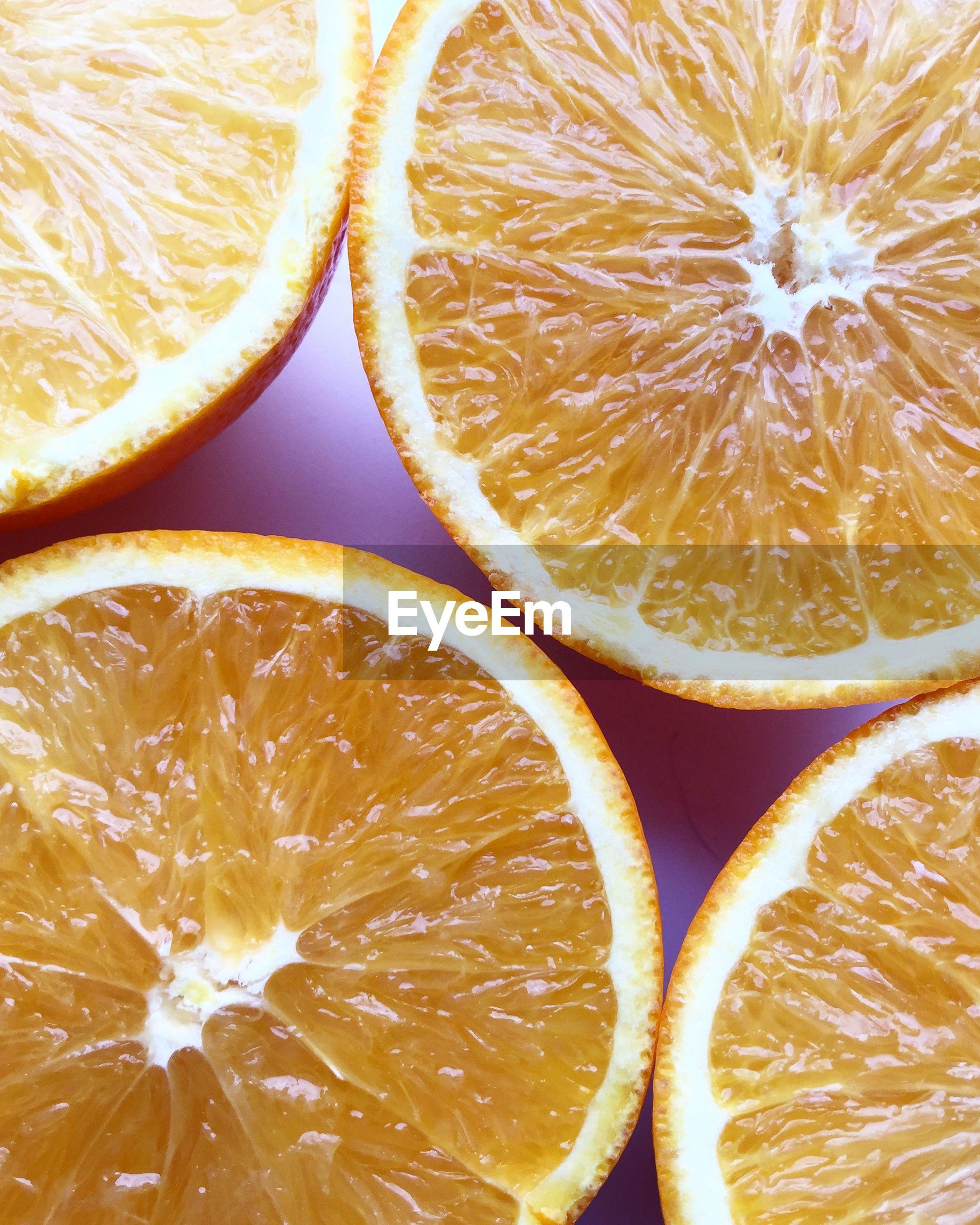 Full frame shot of halved orange slices