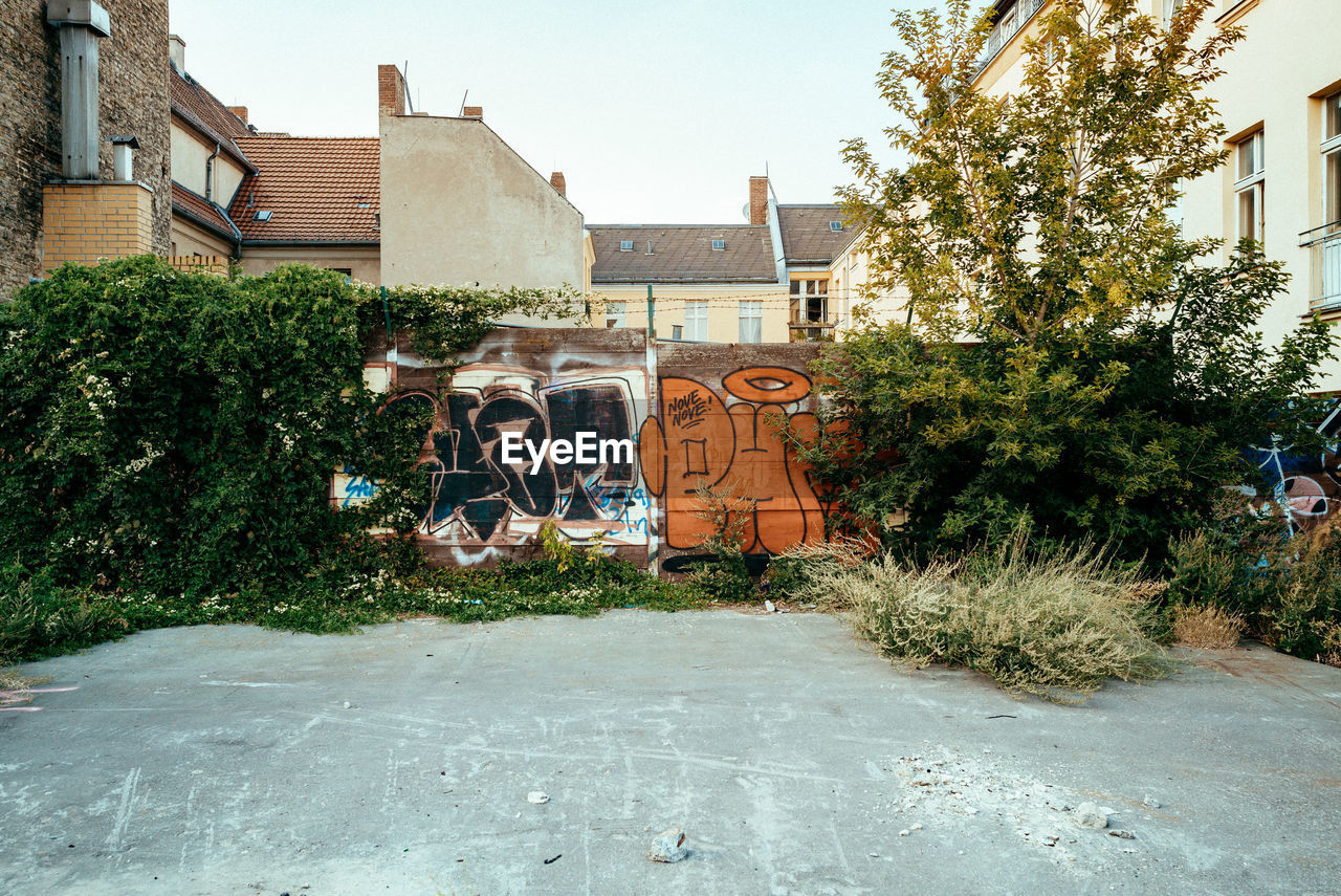 architecture, built structure, building exterior, plant, building, tree, nature, residential district, day, city, no people, house, growth, outdoors, graffiti, front or back yard, transportation, street, art and craft, sky