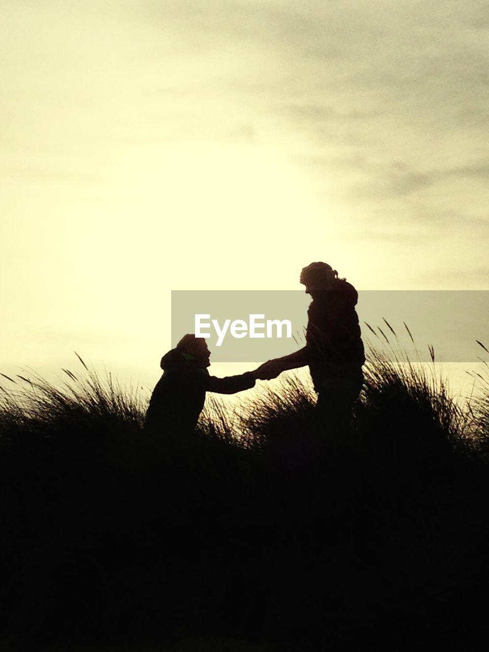 silhouette, togetherness, two people, love, nature, sunset, bonding, childhood, sky, friendship, outdoors, beauty in nature