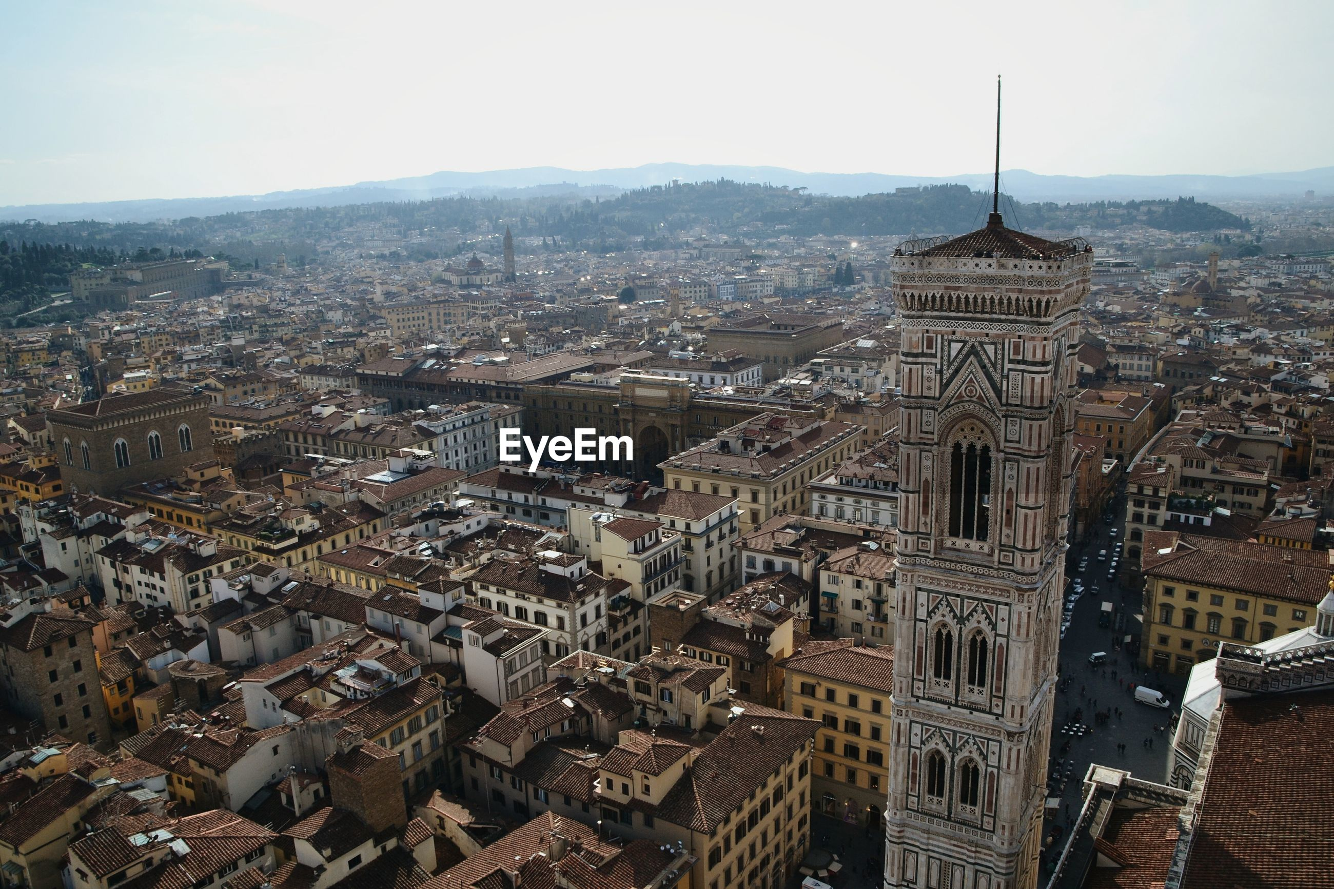 High angle view of duomo santa maria del fiore bell tower in city