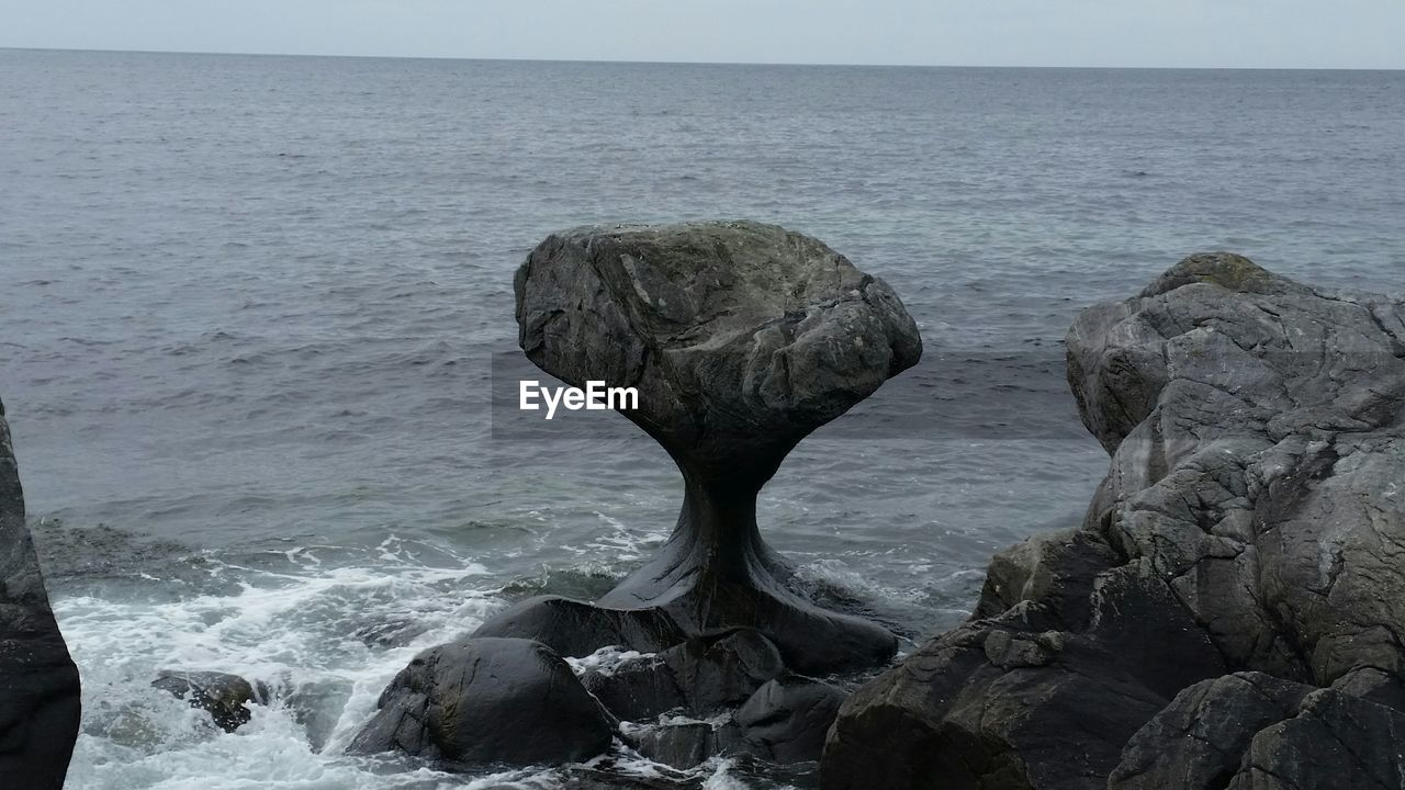 Rock formation on shore